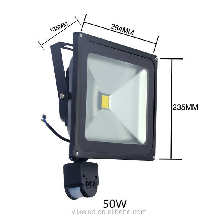 10 W 20 W 30 W 50 W 80 W 100 W PIR MOTION SENSOR LED Flood Light Aluminium Outdoor lampu untuk Taman