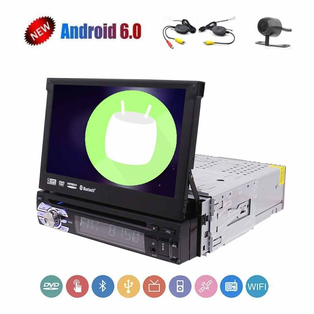 Single din 1 din gps radio 7 inch android 6.0 car dvd player in dash Detachable Panel for anti-theft head unit car bluetooth audio with Hands-free and Steering Wheel Controls,FM/AM,AUX Video Input and