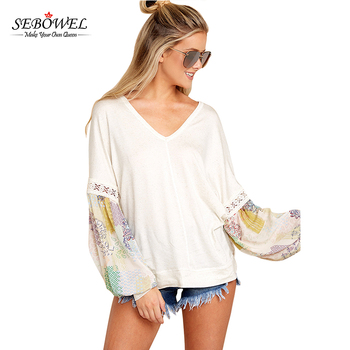 V Neck Printed Bubble Sleeve Splice Women White Tunic Tops