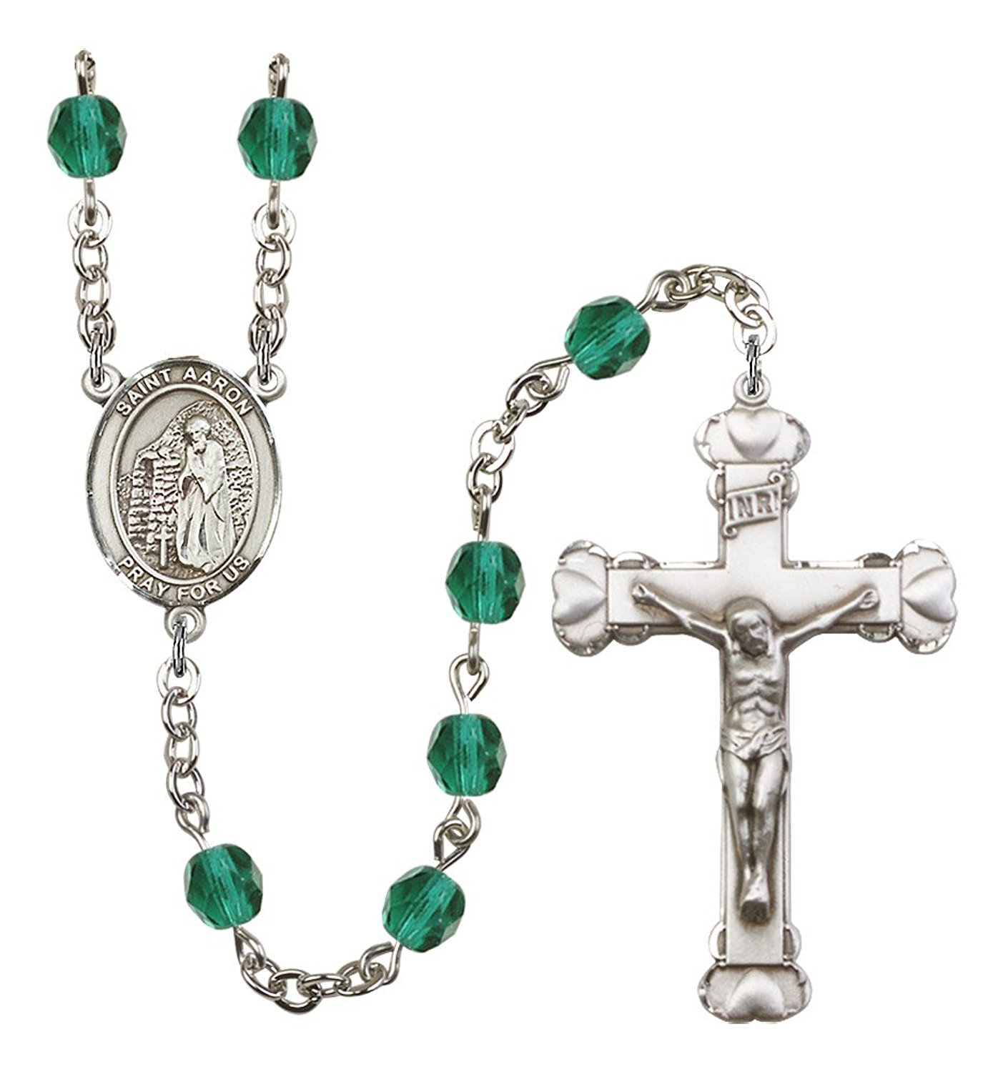 Silver Finish St. Aaron Rosary with 6mm Zircon Color Fire Polished Beads, St. Aaron Center, and 1 5/8 x 1 inch Crucifix, Gift Boxed