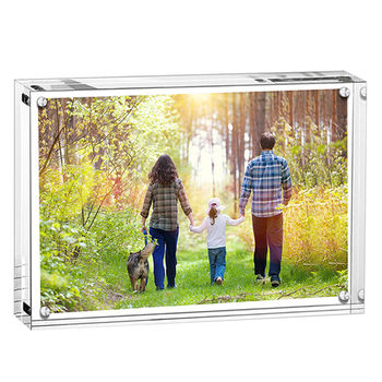 Factory wholesale clear rimless acrylic magnetic photo frames picture frames for home decor