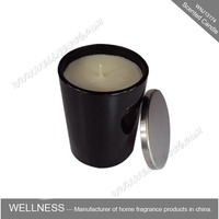 scented soy candle in glass jar with aluminum lid