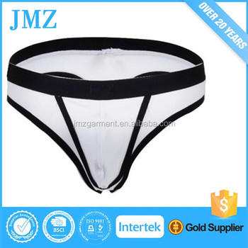 bb7441345 Men s Sexy Cotton Can Removable Pouch G-strings Thongs Underwear ...