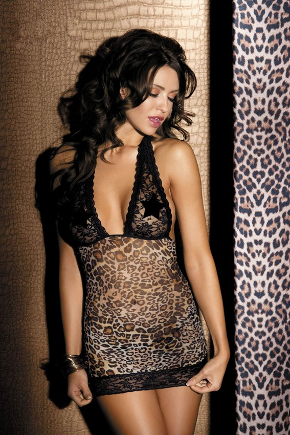 Beauty's Love Sexy Stretch animal print chemise with lace cup and G-string  lady underwear leopard print sexy lingerie