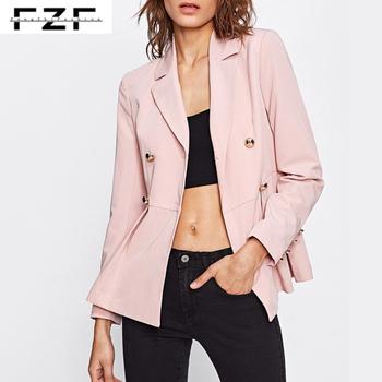 Latest Fashion Custom Pink Double Breasted Women Peplum Blazer