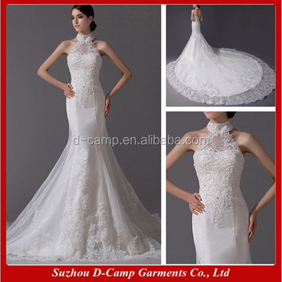 WD094 Unique high collar open open sexy eiffel bride dresses white wedding dress fish tail