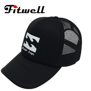 3f98200d735 OEM 5 panels foam trucker cap in black with white printing