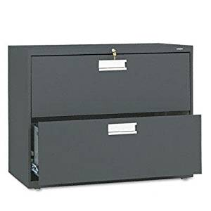 """Hon - 600 Series Two-Drawer Lateral File 36W X 19-1/4D Charcoal """"Product Category: Office Furniture/File & Storage Cabinets"""""""