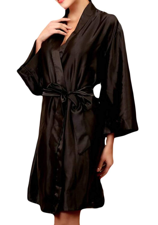 Get Quotations · ARTFFEL-Women Plus Size Nightgowns Sleepwear Silk Satin  Pure Color Nightgowns bc6dba57d