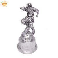 Plated hand with globe resin trophy, award resin trophy soccer ball resin trophy