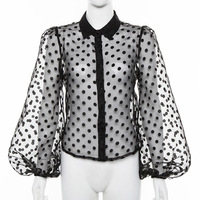 R10063S Women's Lantern Sleeves Single-breasted Dotted Perspective Mesh Blouse