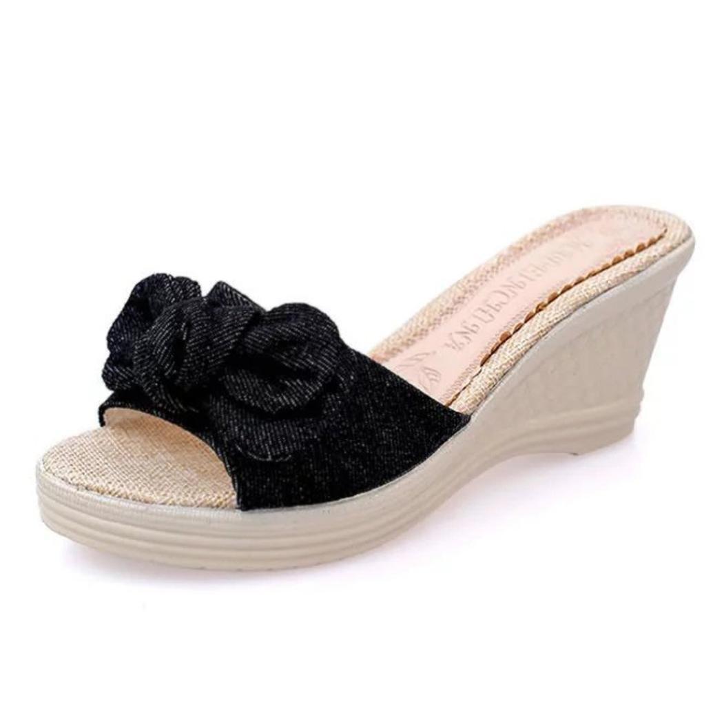 Sunbona Beach slippers Women ,Ladies Summer Bowknot Platform Waterproof Flip Flops Slippers Wedge Sandals Indoor&Outdoor Casual Shoes (US:5(RU/EU/CN34), Black)