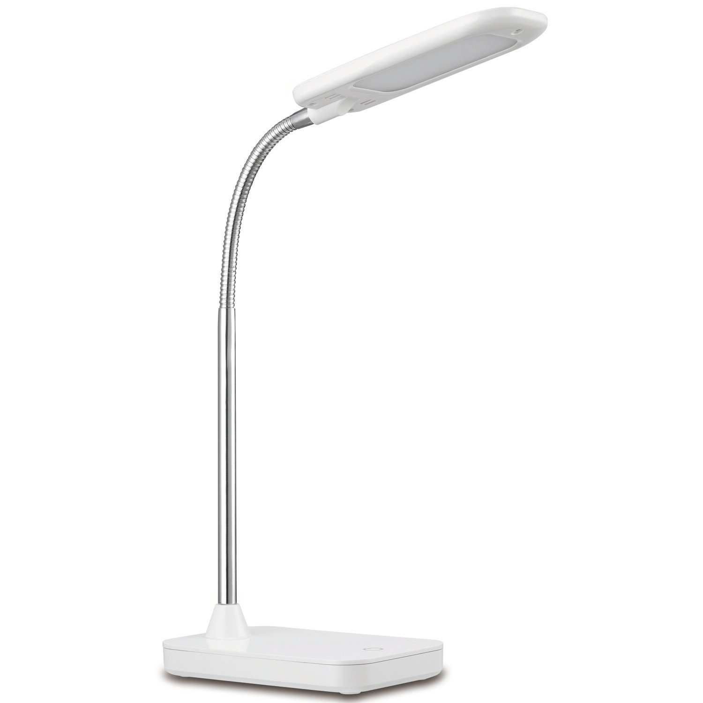 Globe Electric LED Integrated Desk Lamp, White Finish, Chrome Gooseneck, 5 Watts, 12793