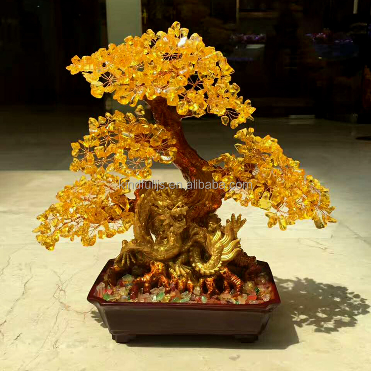 China Manufacturer Sale citrine quartz crystal dragon wedding tree