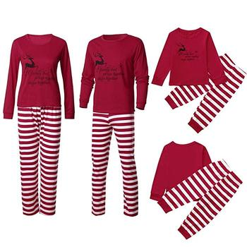 OEM High Grade Christmas Letter Striped Red Matching Family Pajamas Sets Men Women Kids Sleepwear