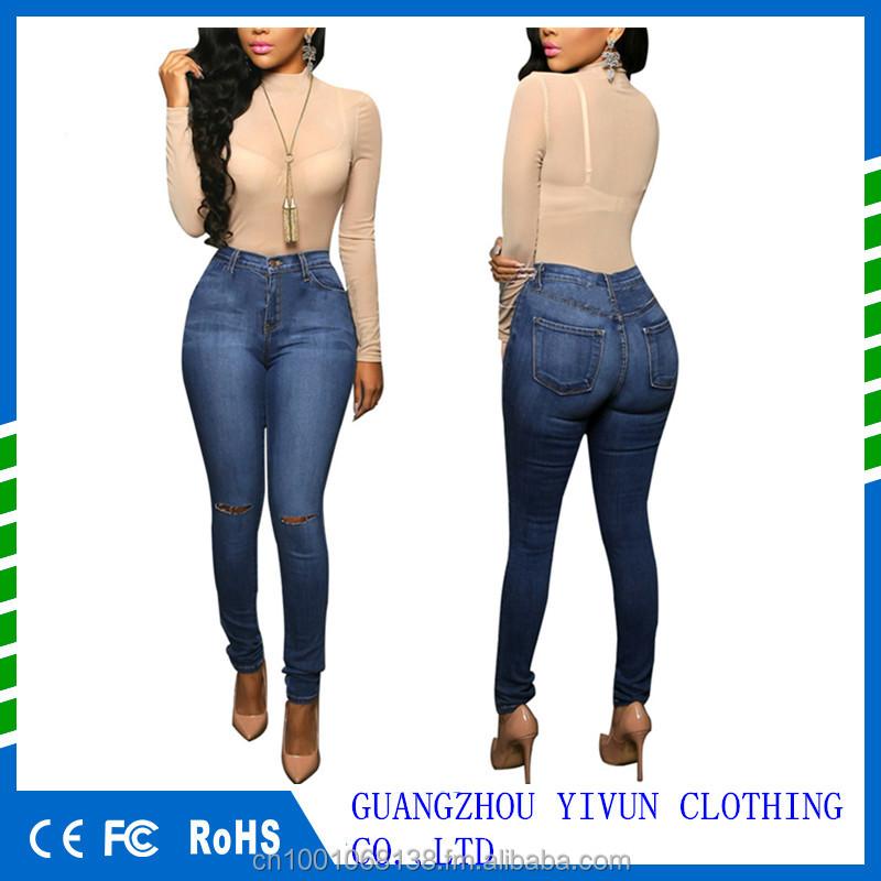 ca441f58c56fe Mujeres Pantalones Casuales Para Las Damas Azul Rasgado Alta Cintura Skinny Denim  Pantalones Vaqueros - Buy Skinny Denim Pantalones Vaqueros