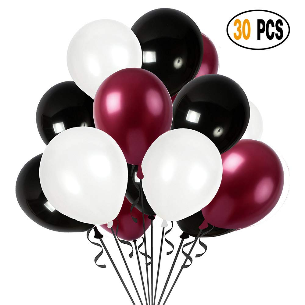 DIvine 30 Pcs/lot Party Decorations Set Combined Balloons, Burgundy Black White Latex Balloons For Wedding Birthday Baby Showers Christmas Festival Ceremony and Party Premium Quality Decoration,30-12""
