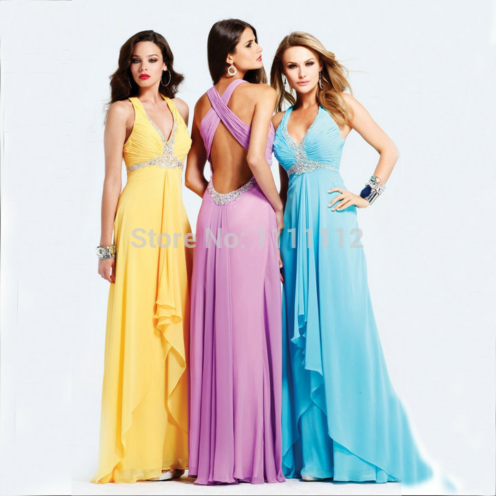 Free shippingBlue Yellow Lilac White Royal Blue Navy Blue Fuchsia Cheap Prom Gowns Backless Sexy Dress