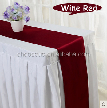 wine red satin table runner for hotel round table decoration wedding