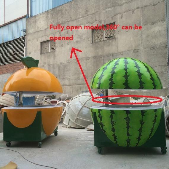 Popular full open orange shape fruit juice bar food kiosk for Food bar orange