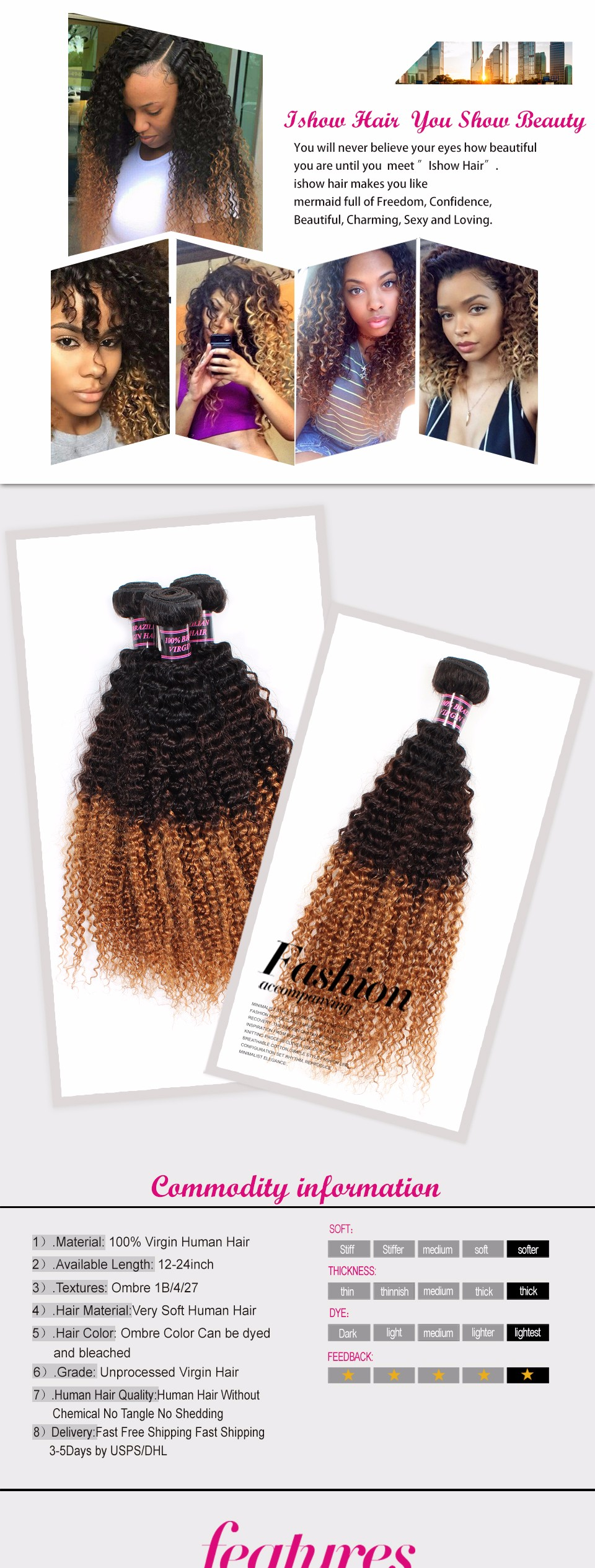 High quality ombre kinky curly 1b427 color virgin brazilian high quality ombre kinky curly 1b427 color virgin brazilian human hair sew pmusecretfo Image collections