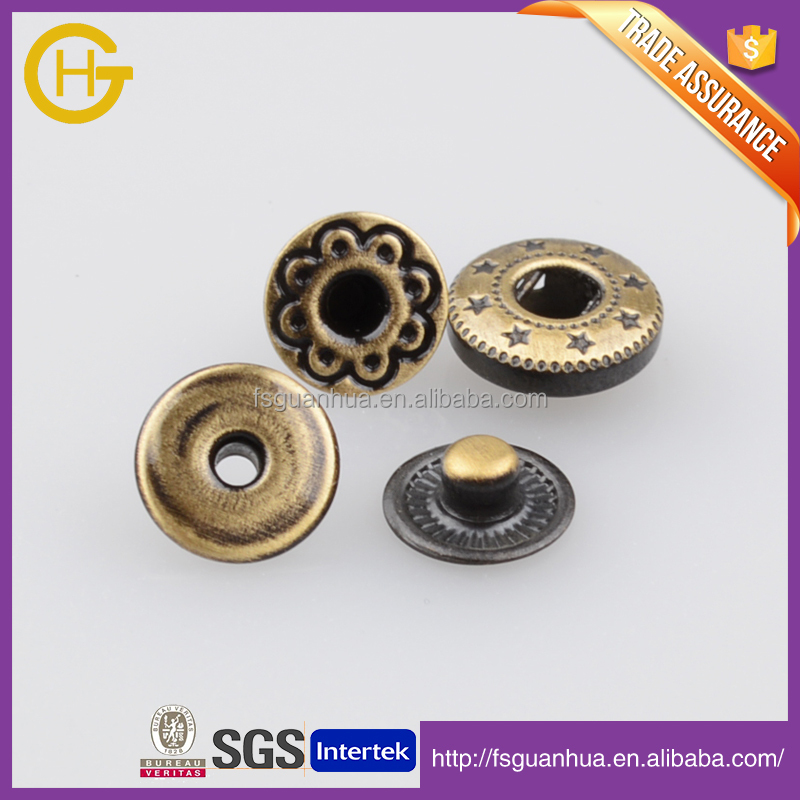 Metal button logo customise button high class gold color 8mm/9mm metal brass snap buttons