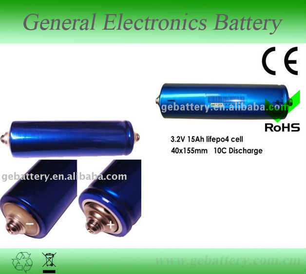 Rechargeable high rate cylindrical LiFePO4 3.2V 15Ah 10C battery 40152S for car, bus ,golf car