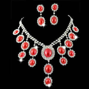 P-9041 Popular red rhinestone diamond belly dance necklace with earrings set