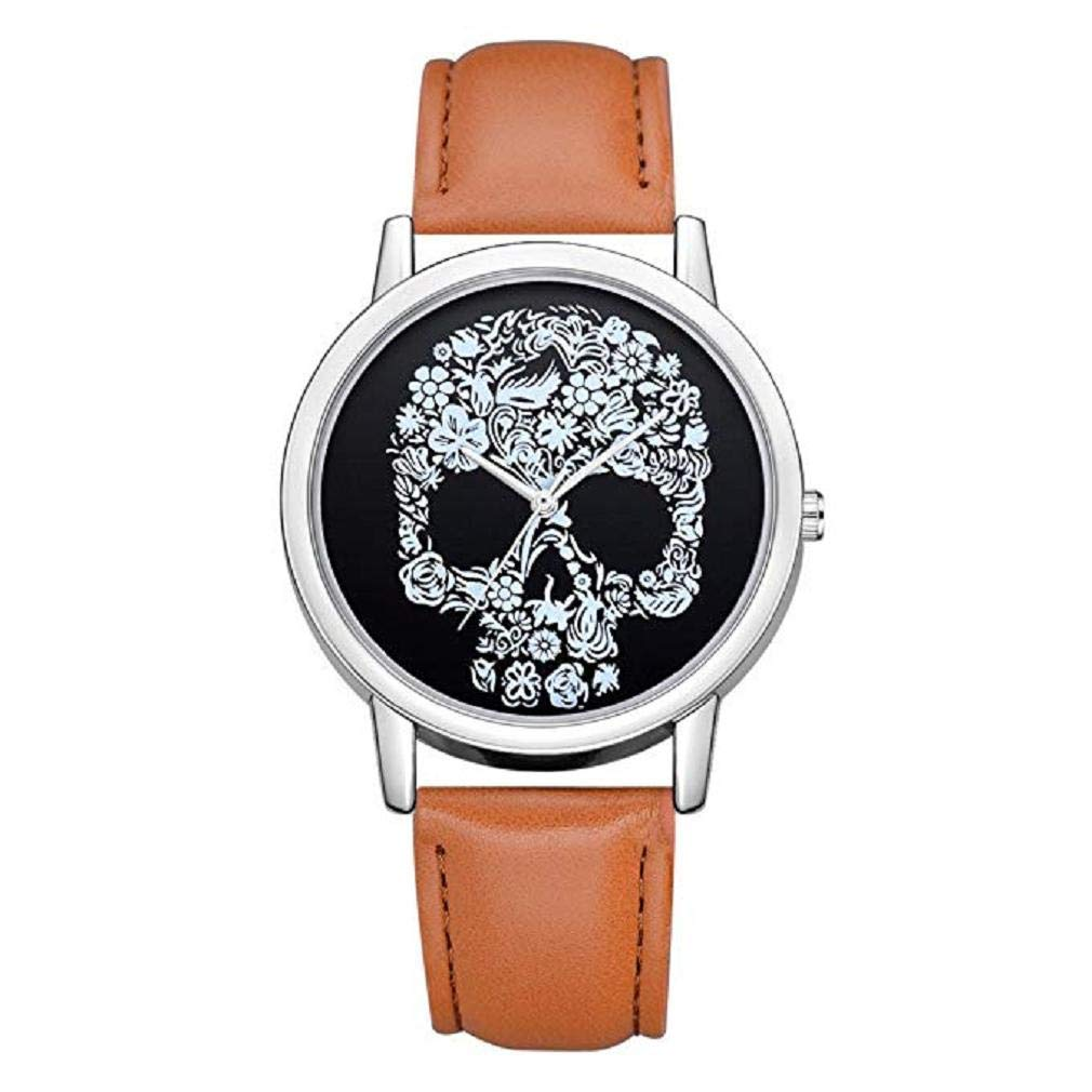 Women Quartz Watches,Windoson Womens Quartz Watches Ladies Casual Skull Pattern Luxury Leather Band Quartz Wrist Watch Teens Fashion Alloy Analog Watches, Women Watches (D)