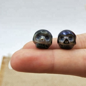 Bulk Size 11mm AAA High Luster Cultured Genuine Real Loose Pearls Black Skull Head Handmade Carved Pearl Ring Designs