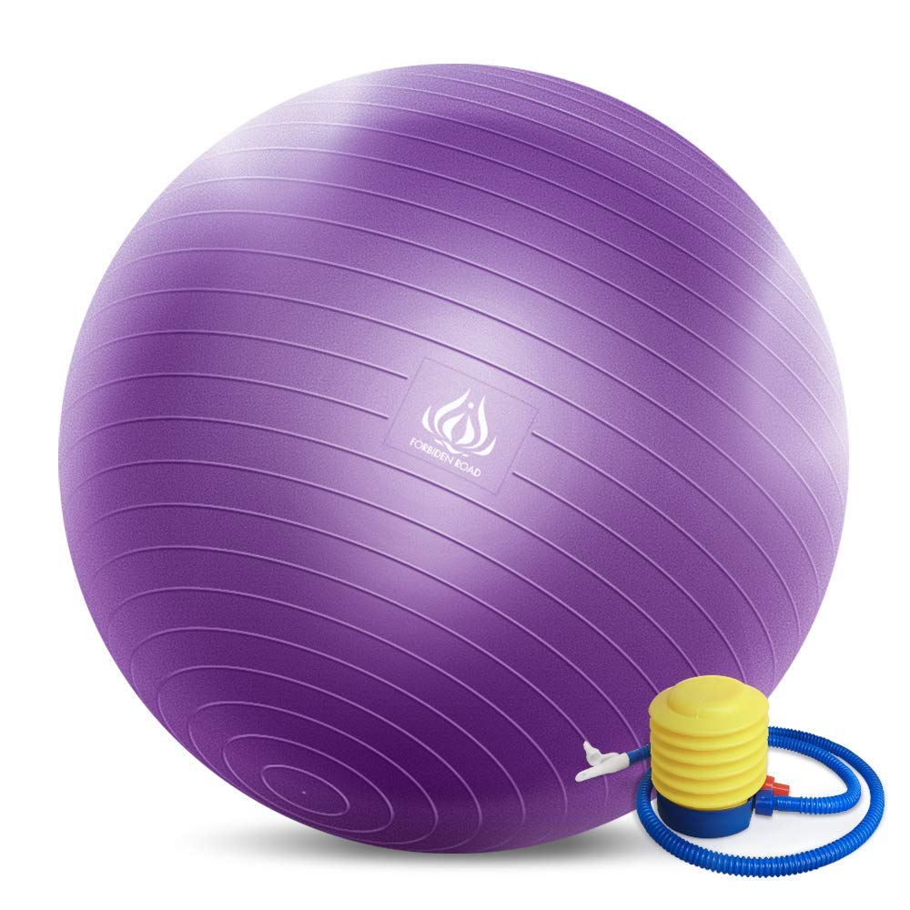 Forbidden Road Exercise Yoga Ball (4 Sizes, 4 Colors) 400 lbs Anti-Burst Slip-Resistant Yoga Balance Stability Swiss Ball for Fitness Exercise with Free Air Pump