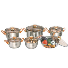12 Pieces Cheap Stainless Steel Cookware Sets Kitchen Ware Cookware Pots And Pans Set With Glass Lid