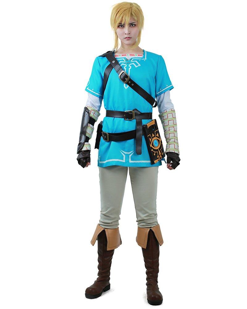 38d4985d0 Get Quotations · Miccostumes Men's Zelda Breath Wild Link Cosplay Costume