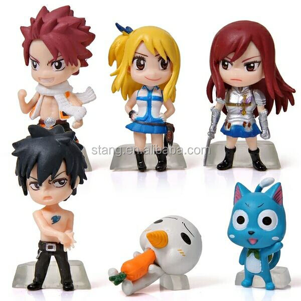 6pc Fairy Tail PVC Takara Tomy Anime Figure Toy Set Natsu Gray Lucy Erza Happy