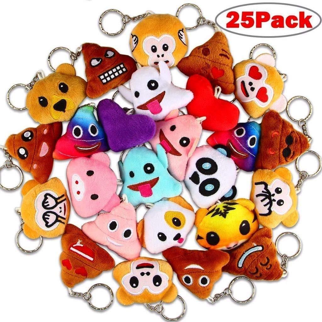 "Poop Emoji Keychains, Dreampark Mini Emoji Key Chains [25 Pack] Poo Emoji Plush Keychain Party Favors for Kids Birthday/Christmas Party Supplies 2"" Set of 25"