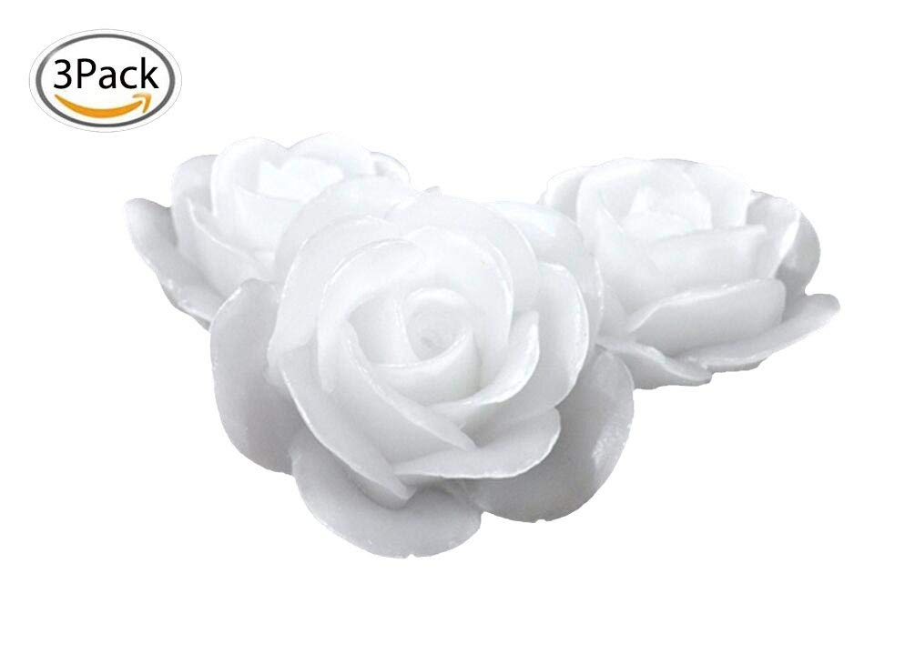 Healthcom Waterproof Flameless Floating Candles Color Changing LED Waterproof Floating Romantic Rose Flower Flickering LED Tea Lights Candles for Wedding, Party, Wishing (Pack of 3)