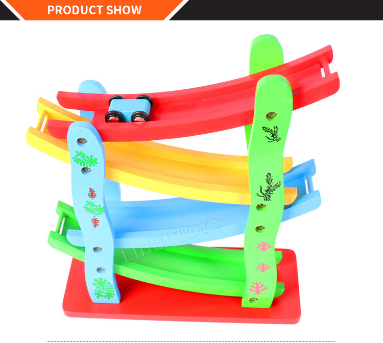 Wholesale Baby Wooden Toys Car Ramp Wooden Ball Track Toy