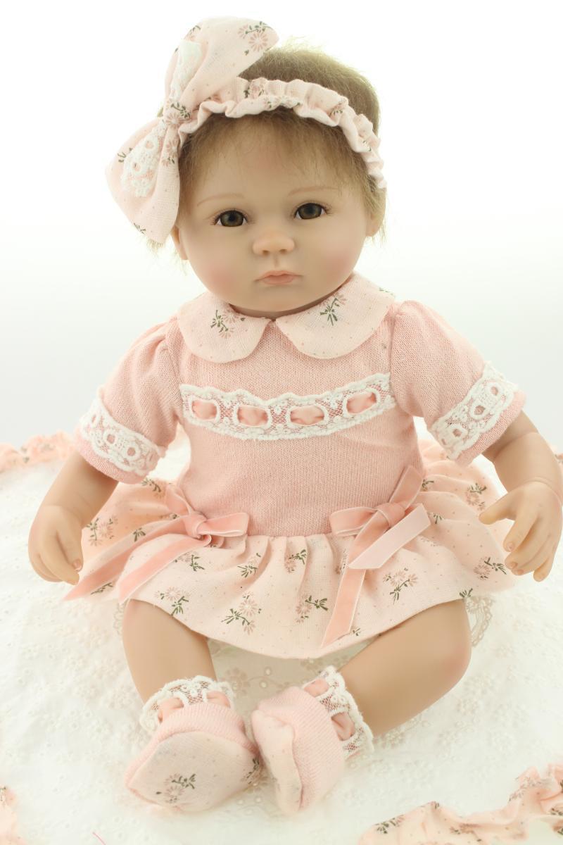 Cute Reborn Baby Doll Soft Silicone 18 Inch Handmade Baby