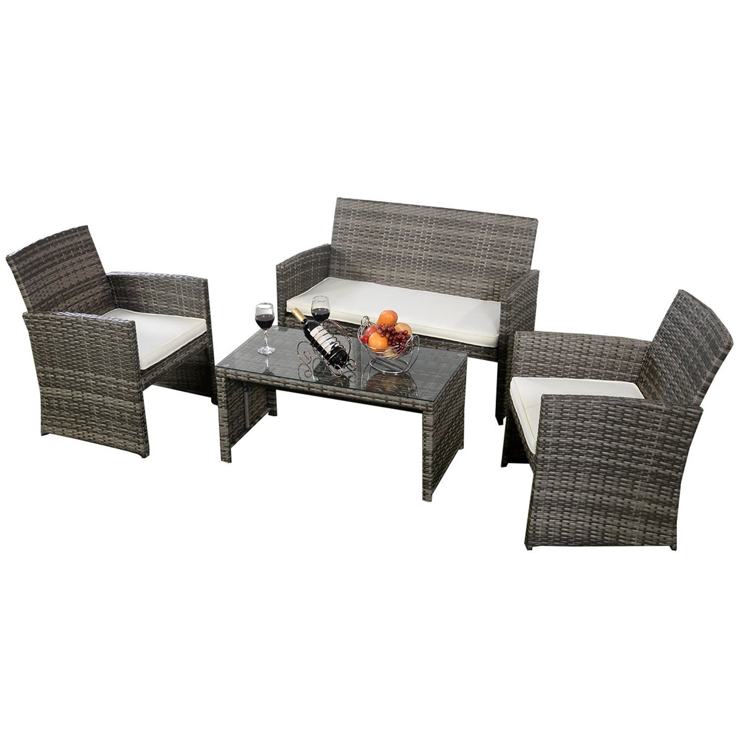 Outdoor Patio Furniture Set Cushioned 4 Pieces Wicker Patio Set Table, Two Single Sofas and a Double Sofa Gray Finish with Cushions Outdoor Furniture Lawn Rattan Garden Set
