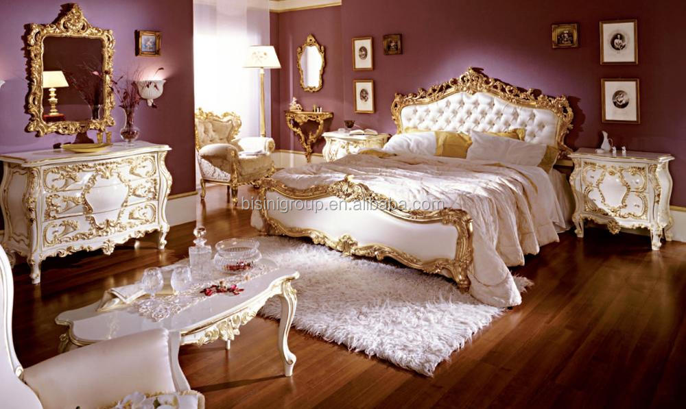 Luxurious Elegant Rococo Designed Carving White And Golden Tufted Crown Bed With Nightstand And Dressing Table Bf12 05254f Buy Rococo Wood Carve Bed Rococo Golden Bed Royal Bedroom Furniture Product On Alibaba Com