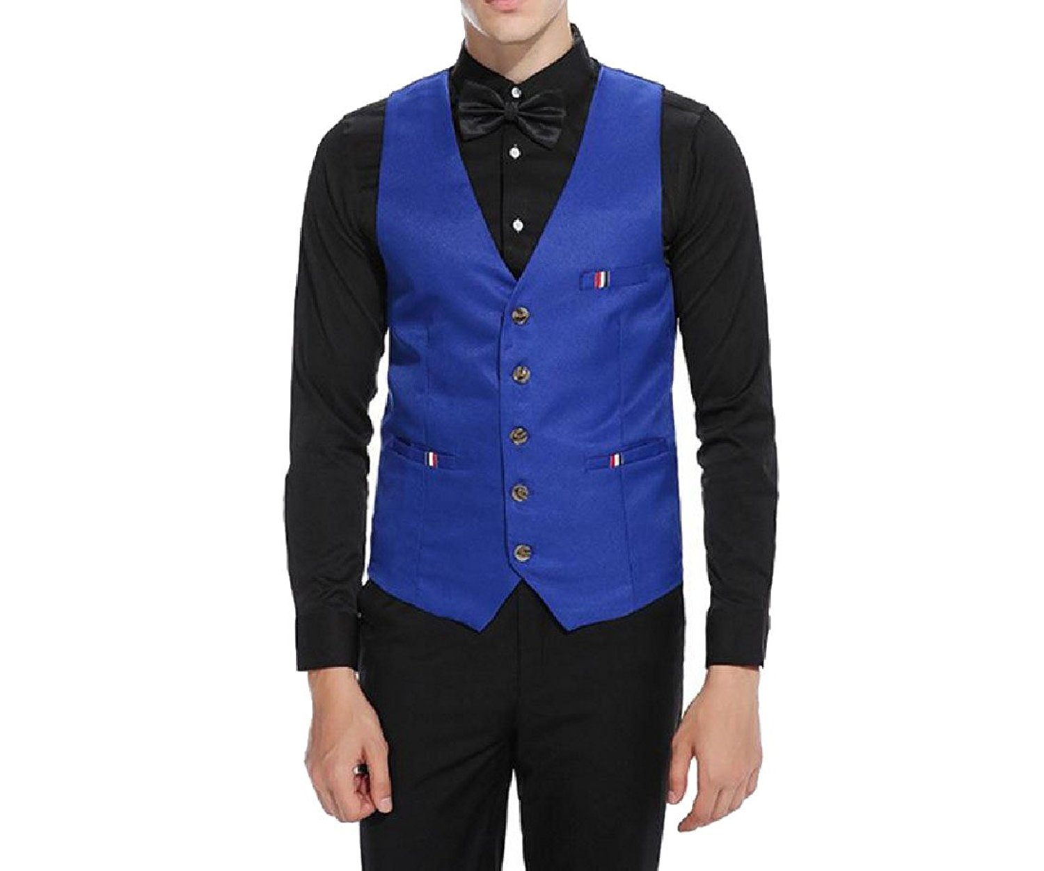 Abetteric Mens Solid Business Stitching Striped Pocketed Waistcoat Vest Suit