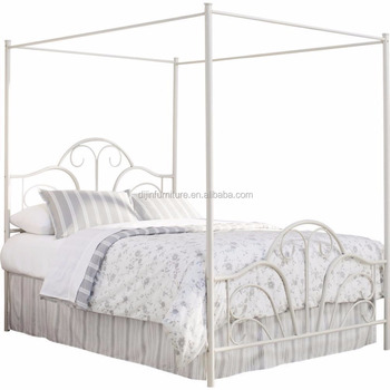 Metal Canopy Bed Scrollwork Frame Fully Welded Open Frame Cream