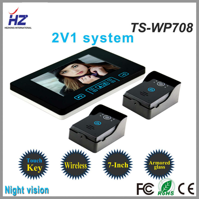 Touch key 2.4GHz wireless 7 inch intercom two monitors one camera |lcd color monitor automatic door