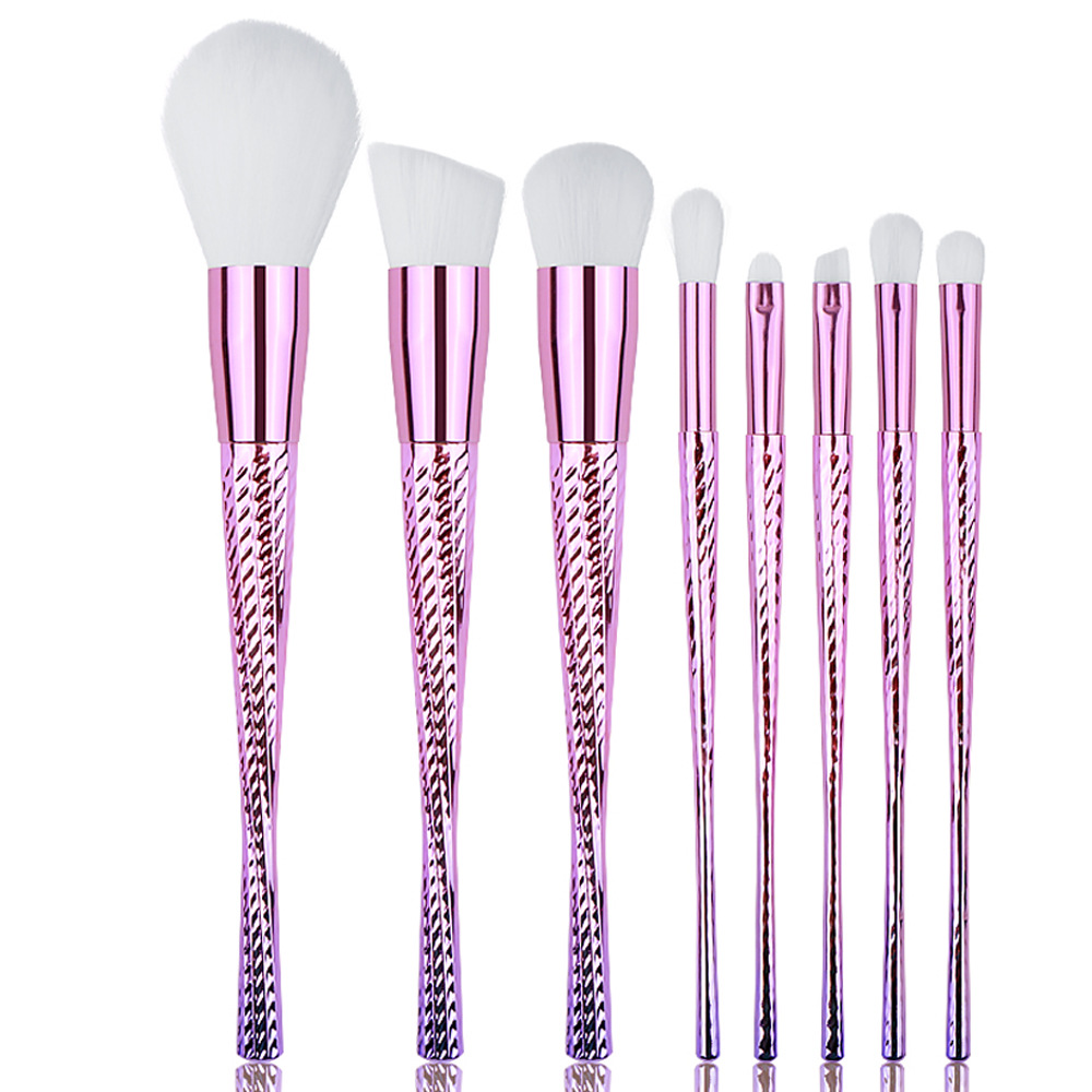 New Style 8pcs glitter plastic handle wholesale private label glitter makeup brush