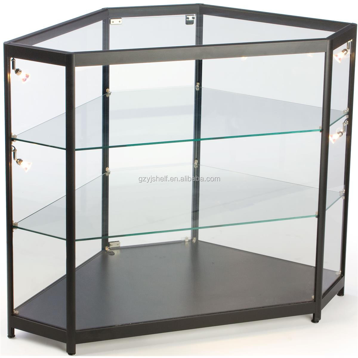 Cheap Price Crystal Display Free Standing Hexagon Corner Glass ...