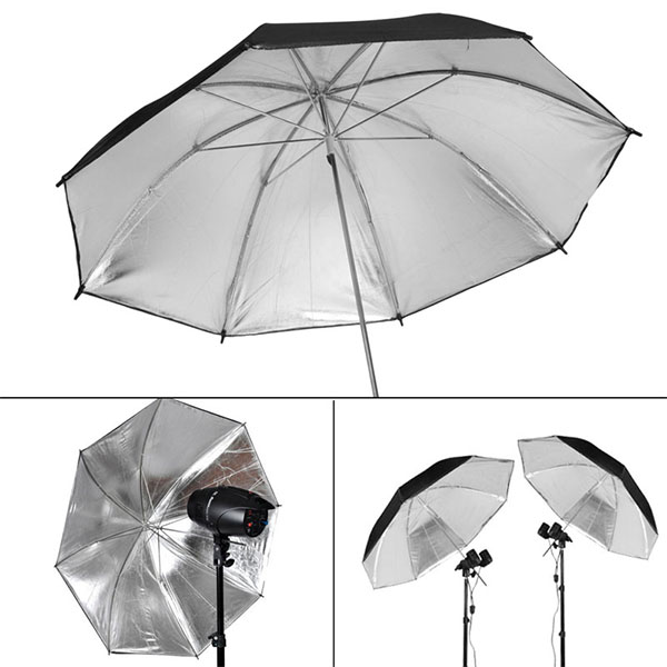 Black Sliver Umbrella Reflective 84cm Photo Studio Flash Light Reflector