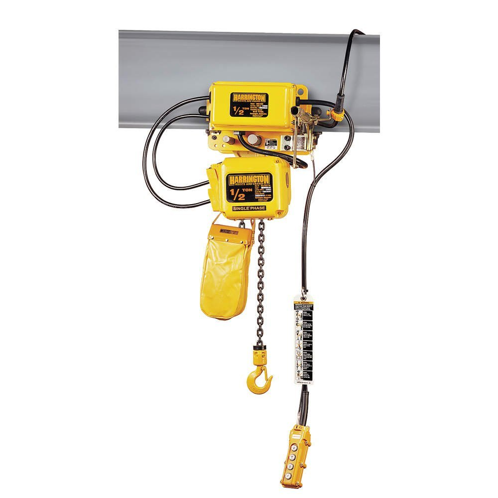 Harrington SNERM010S-L-15 Series SNER Single Phase Electrical Hook Mount Chain Hoist with Motorized Trolley, Single Standard Speed, 40 fpm Low Traversing Speed, 1 Tons Capacity, 15' Lift