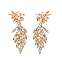 ed00864c 925 Sterling Silver Stud Gold Leaf Pendant Earring Crystal Jewelry