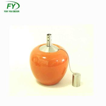 Ceramic Tabletop Torch Oil Lamp With Stainless Steel Tank And New Wick Holder Ct 001