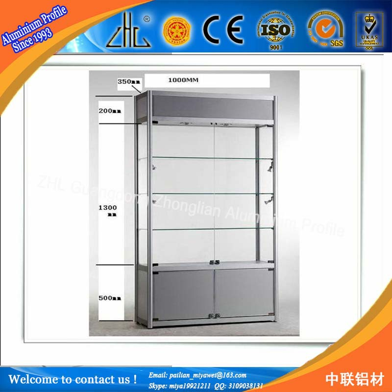 2015 Fashional Portable Wheel Display Cabinets/Exhibition Aluminum Glass  Showcase Factory
